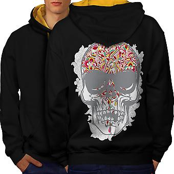 Face Head Skull Men Black (Gold Hood)Contrast Hoodie Back | Wellcoda