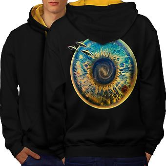 Being Spaceship Space Men Black (Gold Hood)Contrast Hoodie Back | Wellcoda