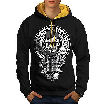 Hippie Swag Cool Men Black (Gold Hood)Contrast Hoodie | Wellcoda