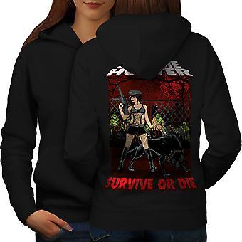 Sopravvivenza Zombie Hunter donne BlackHoodie Back | Wellcoda