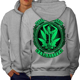 Organic Legalize Men GreyHoodie Back | Wellcoda