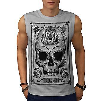 Schedel duivel hoofd Eye mannen GreySleeveless T-shirt | Wellcoda