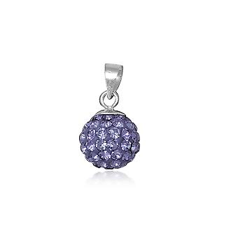 Violet Crystal bead pendant and Silver 925
