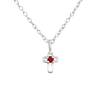 Birthstone Cross - 925 Sterling Silver Jewelled Necklaces - W34856x