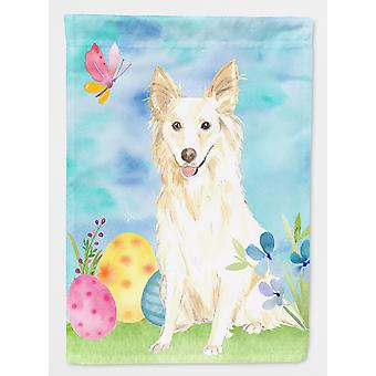 Carolines Treasures  CK1893GF Easter Eggs White Collie Flag Garden Size