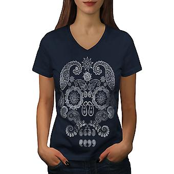 Face Of The Skull Women NavyV-Neck T-shirt | Wellcoda