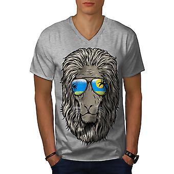 Lion Beach Sun Men GreyV-Neck T-shirt   Wellcoda
