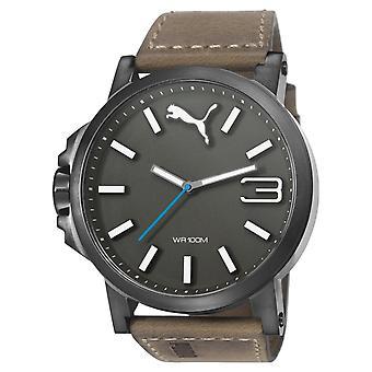 PUMA reloj pulsera reloj mens watch tamaño ultra cuero marrón PU103461017