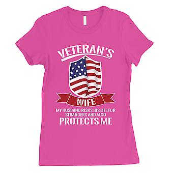 Veterans Wife Shirt Womens Hot Pink T-Shirt For Independence Day