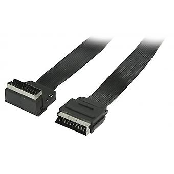 ValueLine Flat SCART cable SCART plug-SCART male 90 ° angled 3.00 m black