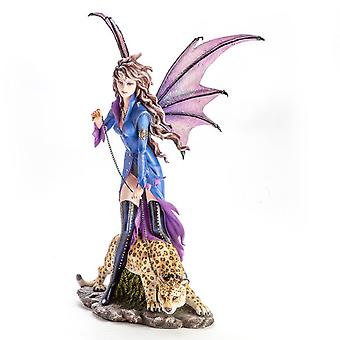 Large Vampire Fairy Figurine with Leopard