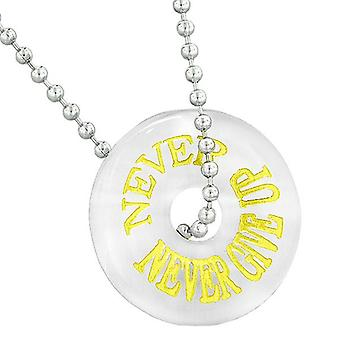 Inspiration Never Never Give Up Amulet Lucky Charm Donut White Simulated Cats Eye 18 Inch Necklace