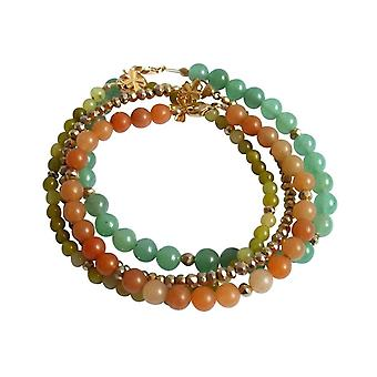 Gemshine - Damen - Armband Set - Golden Leaves - Jade - Aventurin - Grün - Orange - Vergoldet