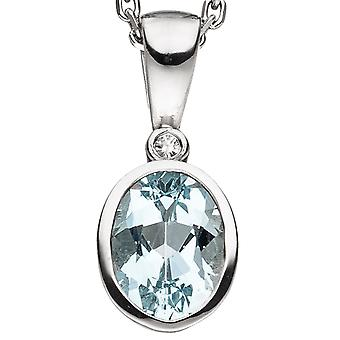 Aquamarine pendant 585 Gold White Gold 1 aquamarine 1 diamond 0, 01 ct.