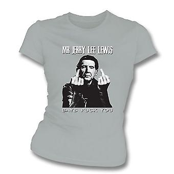 TshirtGrill Mr Jerry Lee Lewis Says F##K You Girl's Slim-Fit T-shirt, Color Sport Grey