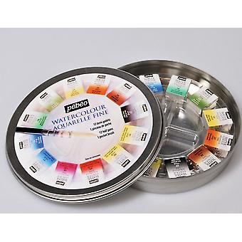 Pebeo Aquarelle Fine Watercolour 12 Half Pan Round Travel Tin
