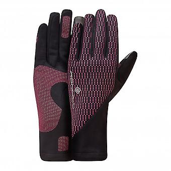 Wind-block Wind Proof Water Resistant Running Gloves Black/Azalea
