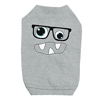小型犬用ペット グレーシャツをメガネでモンスター