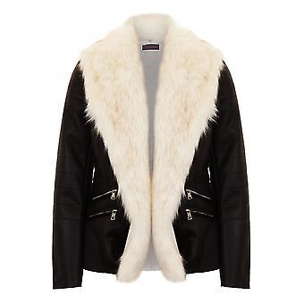 Ladies Open Front White Faux Fur Collar Lined PU Leather Short Biker Jacket