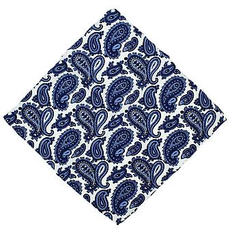 Michelsons of London Paisley Silk Pocket Square - Blue