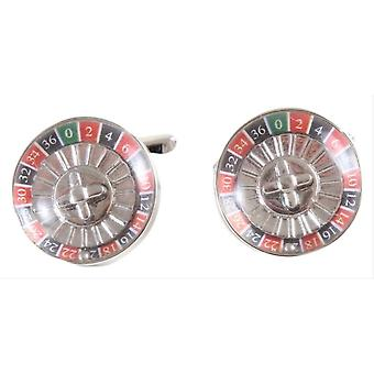 David Van Hagen Roulette Wheel Cufflinks - Silver/Red/Blue