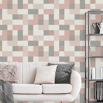 Fd42390 Elegant Cube Pattern Pink Rose Gold Silver Heavyduty Wallpaper 10.05x0.52M