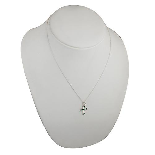 Silver 21x15mm green cold cure enameled club end edge Cross with a rolo Chain 20 inches