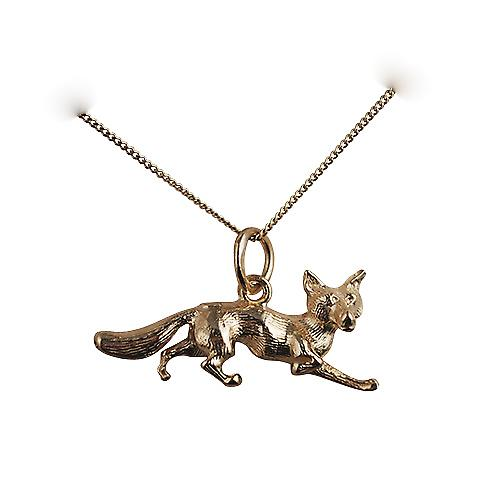 9ct Gold 6x23mm running Fox Pendant with a curb chain