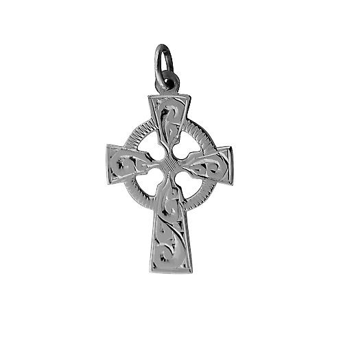 Silver 23x16mm hand engraved Celtic Cross