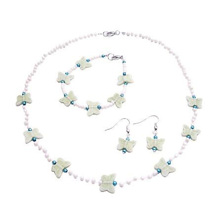 Butterfly Beads Girls Fashion Jewelry Great Gifts For Girls Ivory Bead