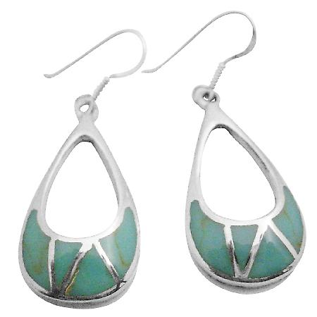 Sterling Silver 925 Green Turquoise Inlaid Sterling Silver Earrings