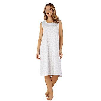 Slenderella ND3125 Frauen Baumwoll Jersey grau Butterfly Nacht Kleid Loungewear Nachthemd