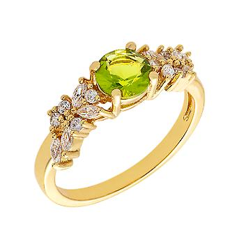 Bertha Juliet Collection Women's 18k YG Plated Light Green Cluster Fashion Ring Size 5