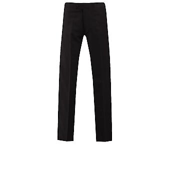 Dobell Mens Black Tuxedo Trousers Regular Fit 100% Wool Satin Side Stripe