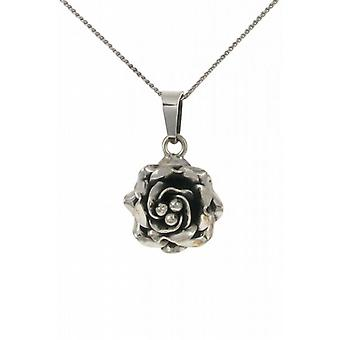 "Cavendish French Small silver rose pendant with 16 - 18"" Silver Chain"