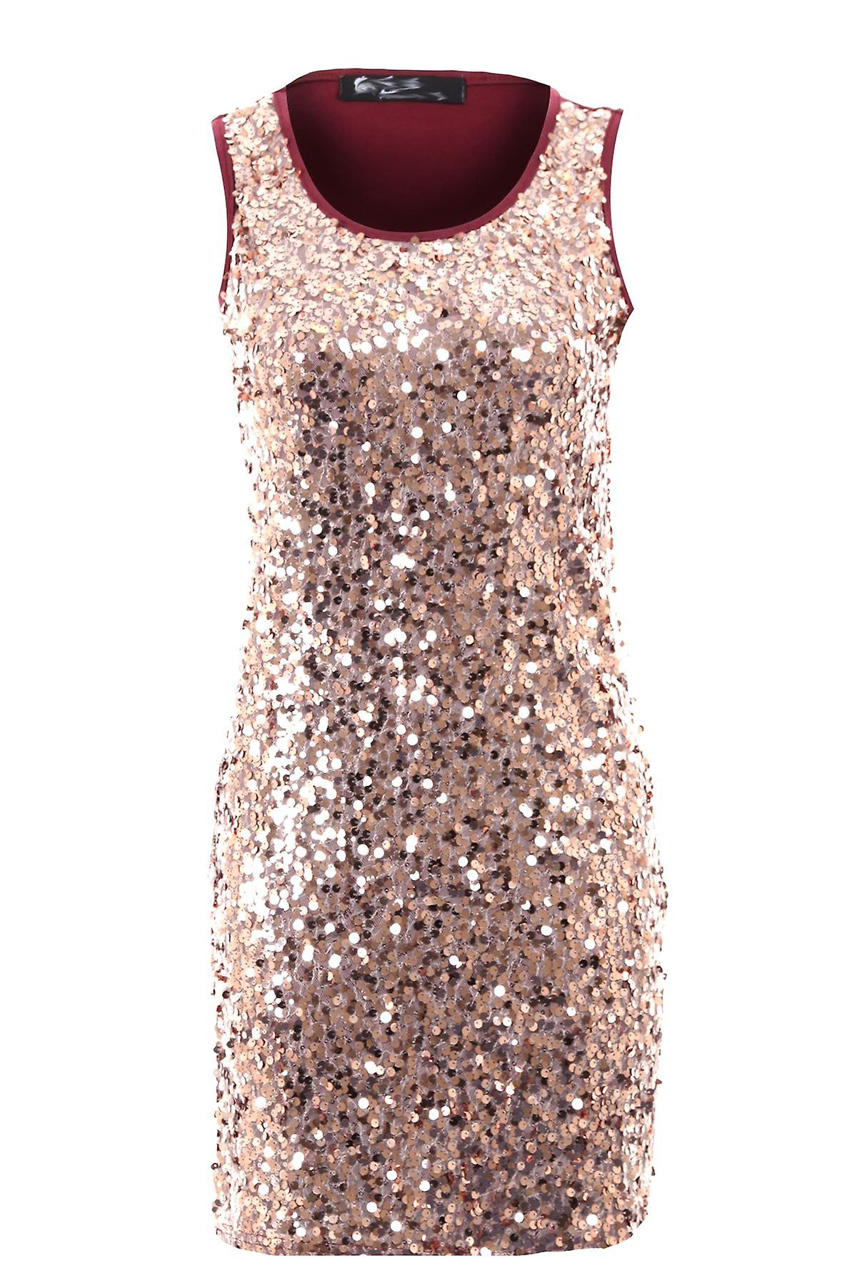 Ladies Round Sequin Shiny Wine Black Beige Plain Back Short Women's Party Dress
