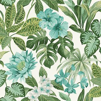 Tropica Rainforest Palm Leaf Floral Wallpaper Flower Green Teal White Fine Decor
