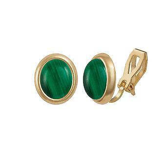 Colección eterno Minué malaquita verde dorado Stud Clip en pendientes