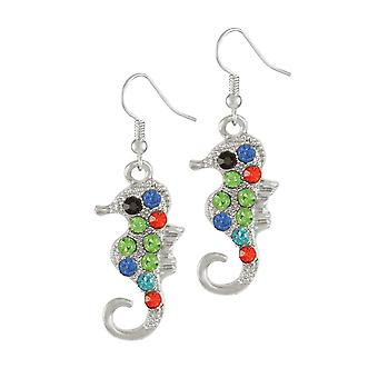Eternal Collection Serena The Seahorse Multi Crystal Silver Tone Drop Pierced Earrings