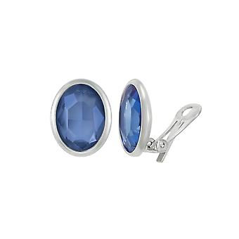Eternal Collection Precious Sapphire Blue Crystal Oval Silver Tone Stud Clip On Earrings