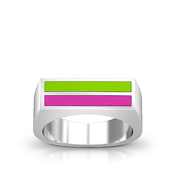 Ghostbusters Enamel Ring In Green And Pink