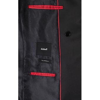 Dobell Herren schwarz Tuxedo Jacke regelmäßige Fit Peak Revers Doppel brusted