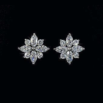 18K Gold Plated Snow Flower Cubic Zirconia Stud Earrings, 1.4cm