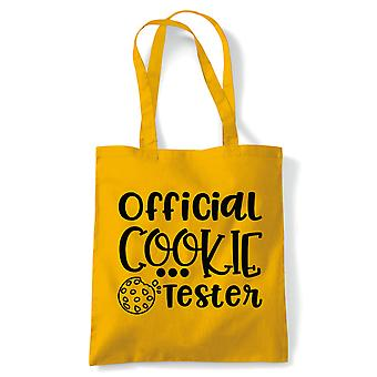 Official Cookie Tester Tote | Baking Cooking Kitchen Utensils Oven Apron Tray | Reusable Shopping Cotton Canvas Long Handled Natural Shopper Eco-Friendly Fashion