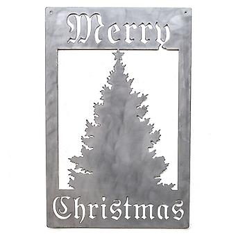 Merry christmas tree - metal cut sign 22x14in