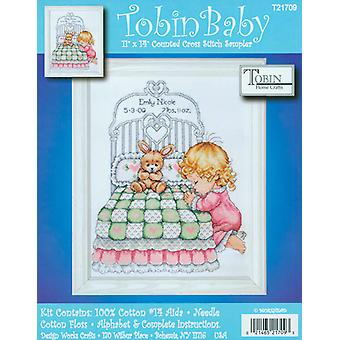 Bedtime Prayer Girl Birth Record Counted Cross Stitch Kit 11