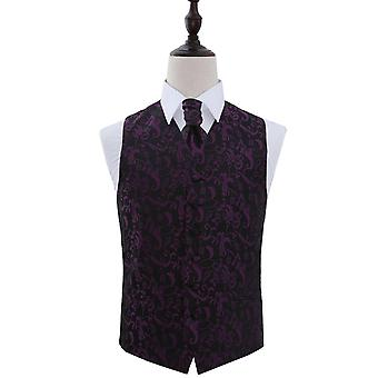 Black & Purple Passion Floral Patterned Wedding Waistcoat & Cravat Set