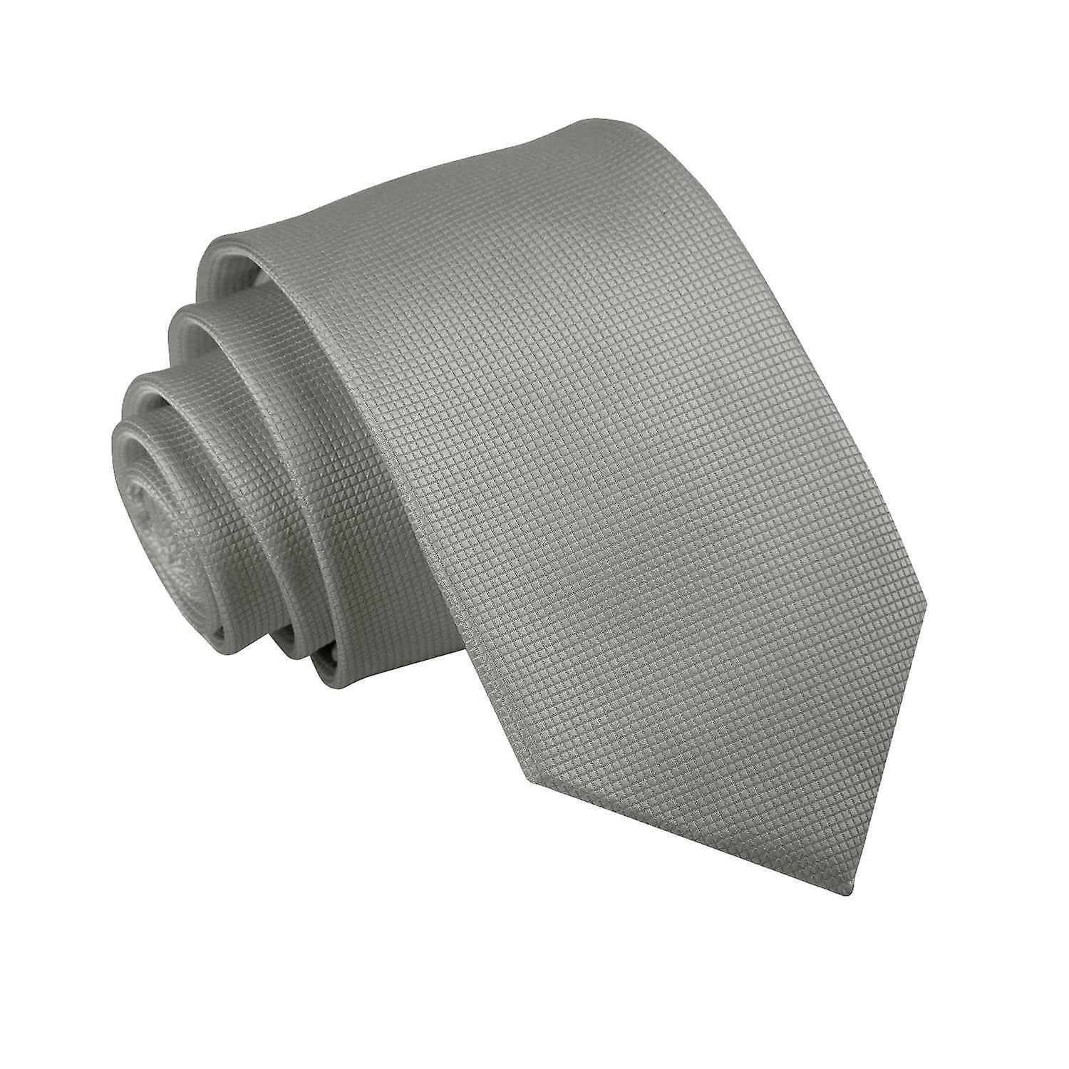 Solid Check Silver Slim Tie