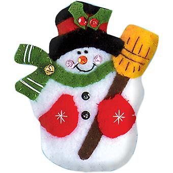 Snowman & Broom Ornament Felt Applique Kit-3