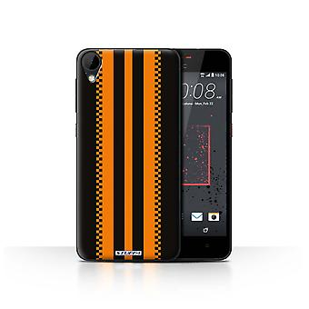 STUFF4 Case/Cover for HTC Desire 825/Japanese/Black/Racing Car Stripes